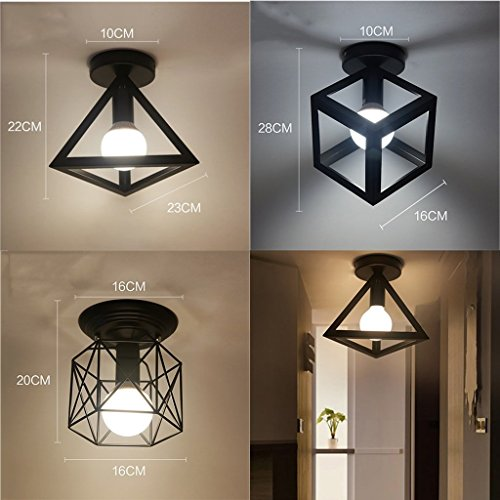Bdeng Chandelier Home Decoration Iron Ceiling Lamp锛孲ingle Head Chandelier锛孯estaurant Balcony Study Hallway Entrance Hallway Lights,B-Iron Wire Rack,