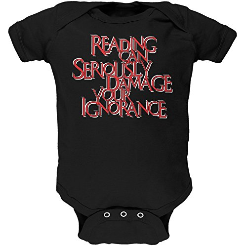 Price comparison product image Old Glory Reading Damages Ignorance Funny Black Soft Baby One Piece - 18-24 Months