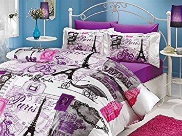 Deconation 100% Cotton Comforter Set Single Twin Full Size Paris Eiffel Tower Vintage Purple Bedding Set Quilt Doona Cover Sheets (Twin)