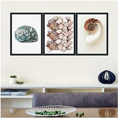 wekeke Carteles Minimalistas de Conchas de Caracol Paisaje Marino Impreso en Lienzo Foto de Paisaje nórdico para Sala de Estar Imágenes de pared-30X40Cmx3 Piezas Sin Marco: Amazon.es: Hogar