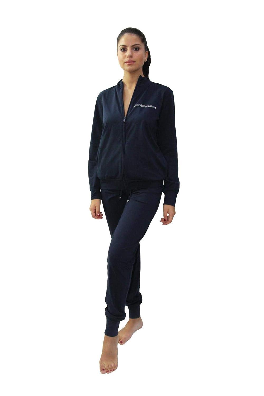 Armani 164146CC270 - Conjunto de Chaqueta y pantalón de algodón para Mujer, Color Azul Marino