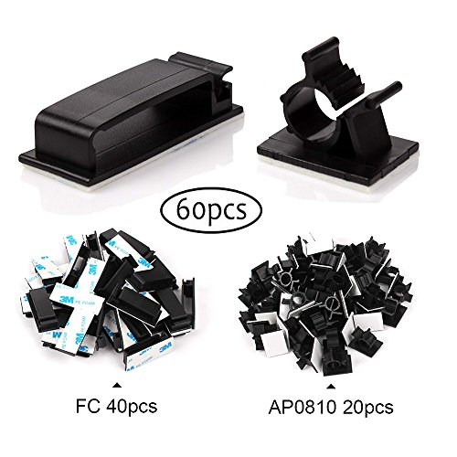 Farway Ethernet Cable Clips 60pcs cable management Enable Repeat Using Adjustable Adhesive Wire Management Clamps for Laptop Home Office(40pcs FC+20pcs AP0810)
