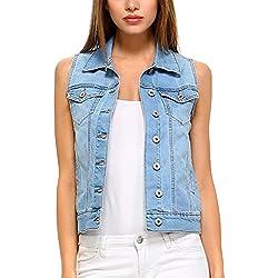 Fashionazzle Women's Buttoned Basic Solid Denim Vest Jacket (Small, DSV01-Denim Blue)
