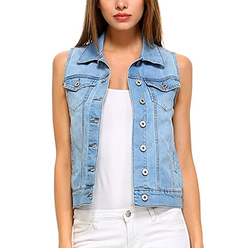 Fashionazzle Women's Buttoned Basic Solid Denim Vest Jacket (Small, DSV01-Denim Blue)
