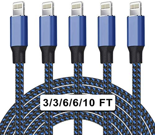 UNEN iPhone Charger Apple MFi Certified 5Pack(3/3/6/6/10ft)Nylon Braided Lightning Cable Compatible iPhone12/11Pro Max/11Pro/11/XS/8 More-Black&Blue