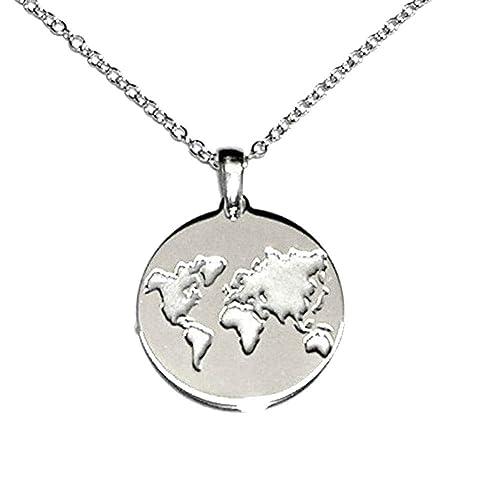 grandes variedades alta calidad venta limitada perlascarel Collar Colgante MAPAMUNDI Plata de Ley 925 ...