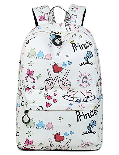 Cute Heart Print School Bookbags for Girls, Large College Laptop Bags Women Daypack by Leaper (Beige)