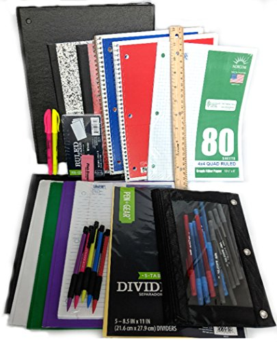 35 Item Back to School Supplies - High School, Middle School Bundle - 1'' Binder, Tabs, Pouch, Folders, Notebooks, Filler and Graph Paper, Ruler, Pens, Pencils, Eraser, Highlighters, Note Cards by MISC