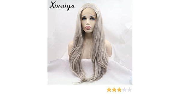 Xiweiya - Peluca de pelo recto natural, rubio ceniza, de encaje ...