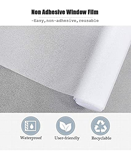 Bloss Etched Privacy Window Film Frosted Glass Static Cling Non Adhesive Window Frost Film for Home Office 17.7inch x 78.7 inch
