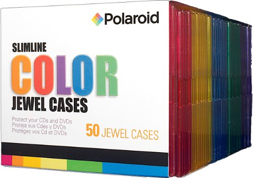 Price comparison product image Polaroid PREJC00050C CD and DVD Slimline Color Jewel Case, 50-Pack