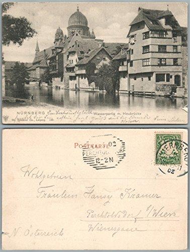 NURNBERG GERMANY WASSERPARTIE m. HEUBRUCKE 1902 ANTIQUE POSTCARD BAVARIA STAMP - Bavaria Stamp