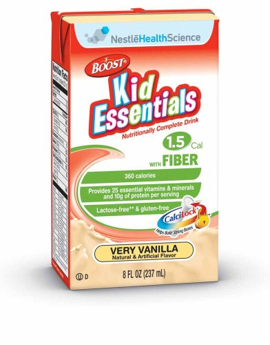 Boost Kid Essentials 1.5 with Fiber Nutritionally Complete Drink, Very Vanilla, 8 fl oz Box, 27 Pack by Boost Kids Essentials