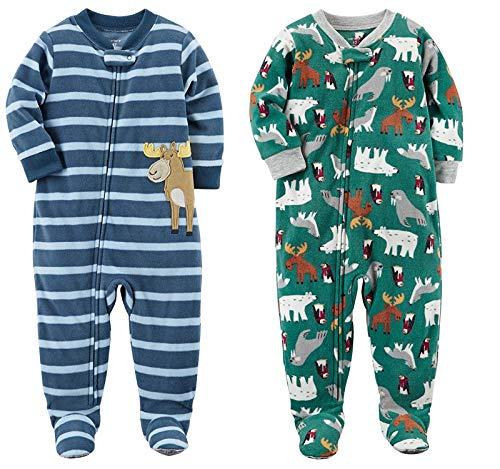 Carters Moose - Carter's Boys' 2-Pack Fleece Pajamas (Blue Moose Green Animals, 5T)