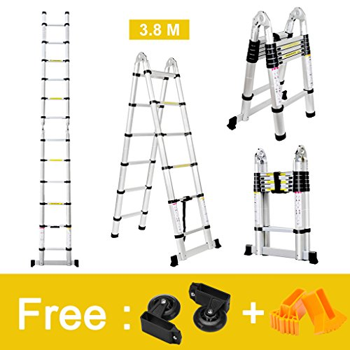 Finether 12.5ft Aluminum Telescopic Extension Ladder | Portable Heavy Duty Multi-Purpose Telescoping Ladder, EN 131 Certified A-Frame Ladder with Hinges,330 Lb Capacity Telescoping A-frame Ladder