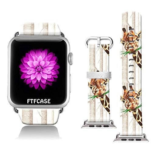 FTFCASE Compatible with Apple Watch Band 42mm 44mm, Soft Leather Replacement Sport Bands Compatible with iWatch 42mm 44mm Series 4/3/2/1 - Adorable Giraffe Pattern