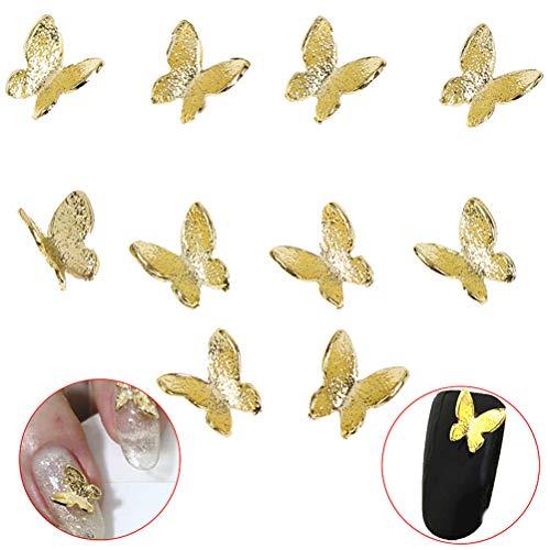 Ujuuu 100 Pcs 3D Mini Nail Art Stud Metal Glitter Butterfly Shape Decoration Gold Alloy Nail Charming Stickers, DIY Nail Manicure Accessories