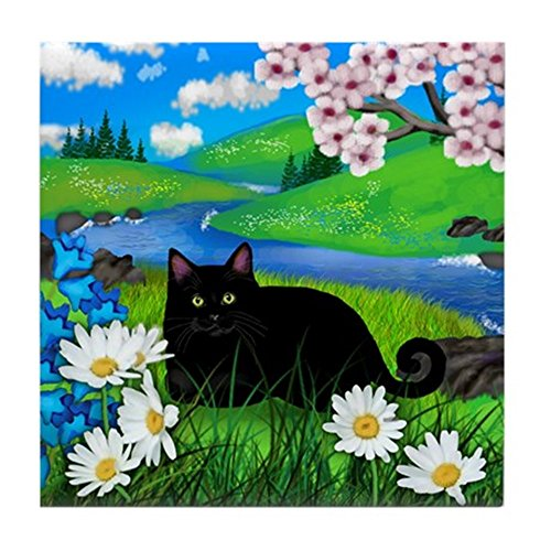 CafePress - Black Cat Spring River Ceramic Tile Coater Tile Co - Tile Coaster, Drink Coaster, Small Trivet ()