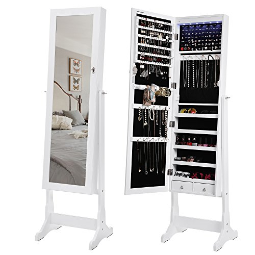 songmics 6 leds jewelry cabinet lockable standing jewelry armoire organizer with mirror 2. Black Bedroom Furniture Sets. Home Design Ideas