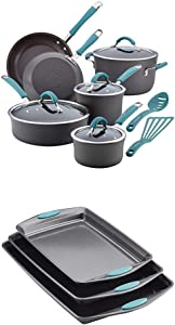 Rachael Ray Cucina Hard-Anodized Aluminum Nonstick Pots and Pans Cookware Set, 12-Piece, Gray, Agave with Rachael Ray Nonstick Bakeware Cookie Pan Set, 3-Piece, Gray with Agave Blue Silicone Grips