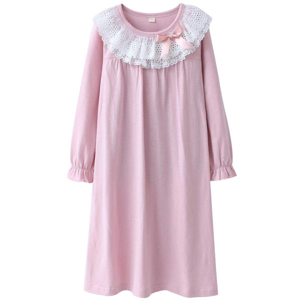DGAGA Kids Girls Cotton Lace Nightgown Long Sleeve Solid Sleepwear Top Dresses Pink 6-7 Years /130cm
