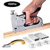 3-in-1 Staple Gun with Remover,Nail Puller, Upholstery Stapler, Heavy Duty Tacker Stainless Steel Brad Nail Gun, for Fixing Material, Carpentry, Furniture,Doors And Windows,1000 Staples (Sliver)