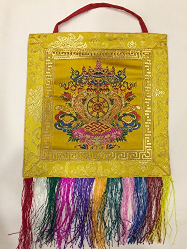 Tibetan buddhist yellow 8 auspicious symbol wall hanging/banner/thangka (Shrine Buddhist)