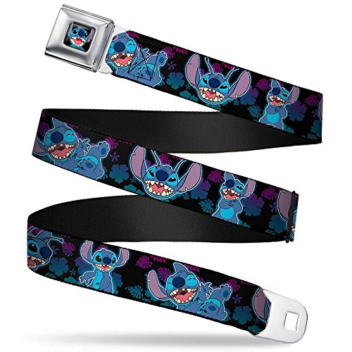 (Buckle-Down Seatbelt Belt - Stitch 2-Expressions/2-Poses Tropical Flora Black/Purple-Blue Fade - 1.5