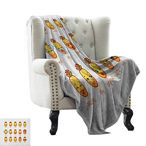 Emoji, Custom Design Cozy Flannel Blanket, Funny Pineapples for sale  Delivered anywhere in USA