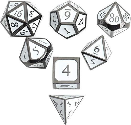 DND Polyhedral Metal Game Dice Black and White 7pc Set for Dungeons and Dragons RPG MTG Table Games D4 D6 D8 D10 D12 D20 Black & White Dice