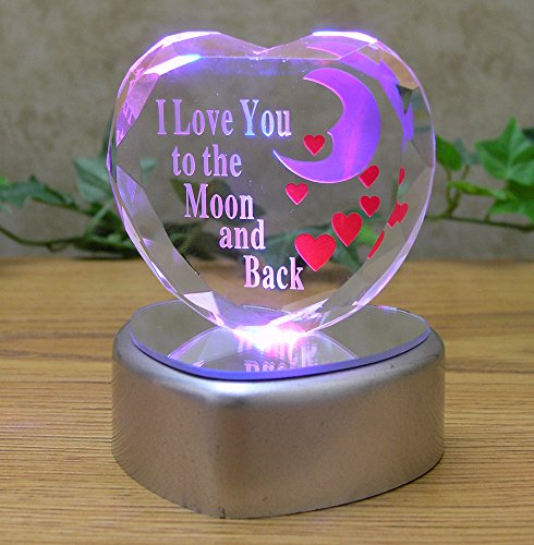 I Love You to the Moon and Back Crystal Glass Heart on LED Lighted Heart Shaped Base for Sweetheart, Wife, Husband, Boyfriend, Girlfriend, Mother, Grandma, Baby Nursery Decoration