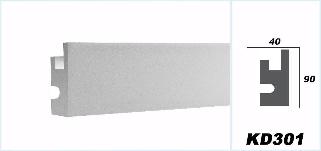 KD301 1,15 Meter LED Stuckleiste f/ür indirekte Beleuchtung XPS 90x40mm