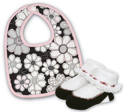 Floral Vintage Bib (Stephan Baby Infant Girl Bib and Bootie Socks Set, Vintage Petal, 6-12 Months)