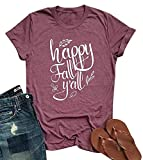 Happy Fall Y'all Shirt Women Cute Leaves Print Graphic Tees Letter Short Sleeve Fall Tops with Sayings Pink