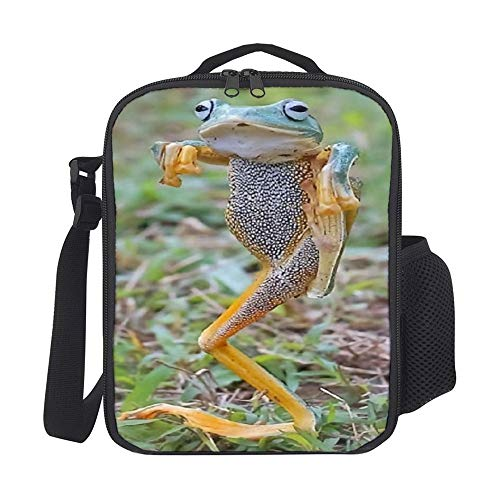 SARA NELL Kids Lunch Backpack Hip Hop Frog Lunch Bag Lunch Box Cooler Meal Prep Lunch Tote With Shoulder Strap For Boys Girls Teens Women Adults
