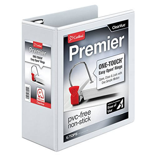 Cardinal Premier Easy Open ClearVue Locking Slant-D Ring Binder, 4-Inch, White (10340CB)