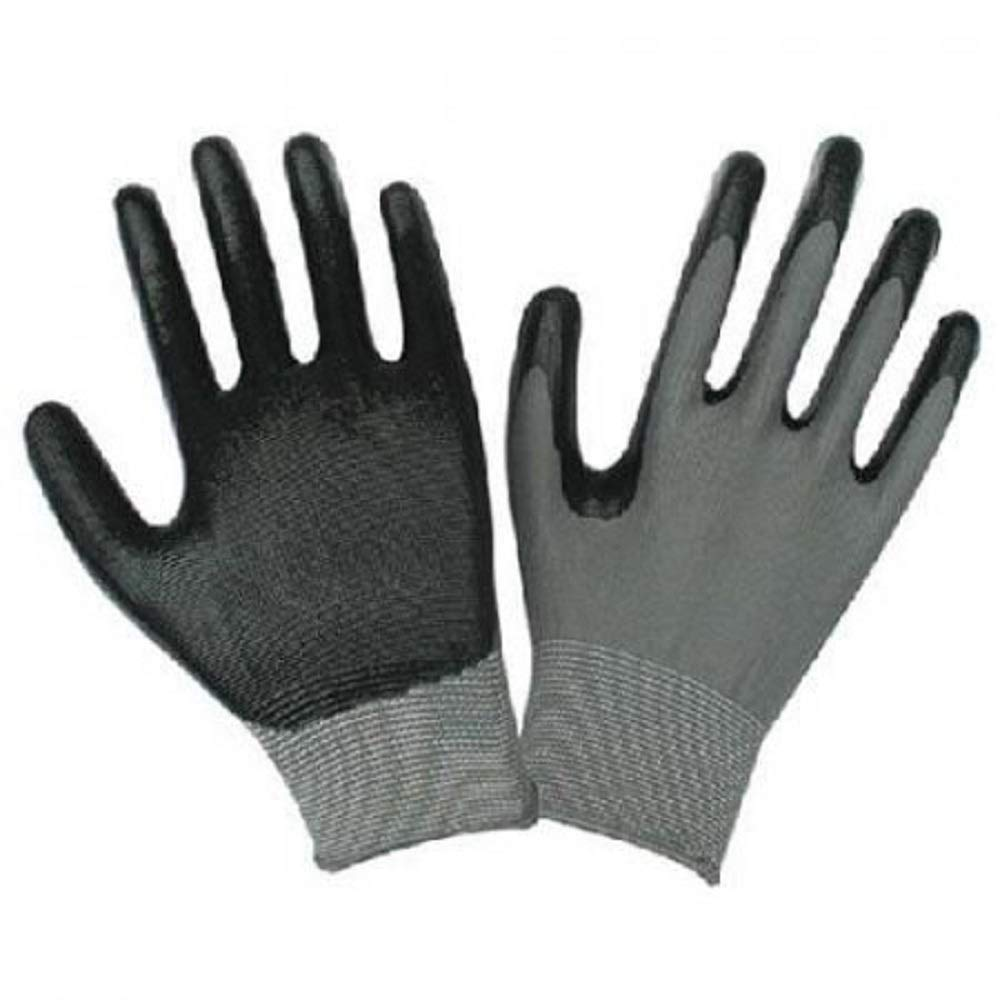 Safety Grip Protection Gloves Economical String Knit Latex Dipped Palm Gloves, Nitrile Coated Work Gloves for General Purpose, One Size, Black (300)