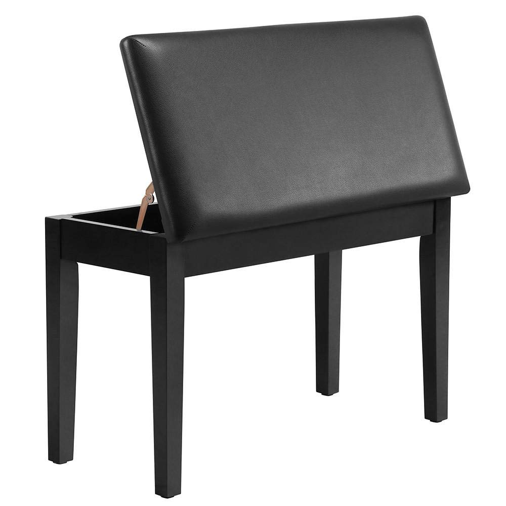 Yaheetech Duet Wooden Piano Bench Stool with Padded Leather Cushion Deluxe Comfort and Storage for Music Books Sheet Black