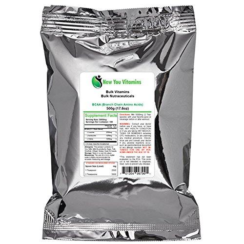 Chaîne de la Direction générale des acides aminés (BCAA) poudre par New Vous vrac vitamines 100% Pure chaîne ramifiée en vrac des acides aminés (BCAA) 100g de poudre (100 g) 3,5 onces (3,5 oz)