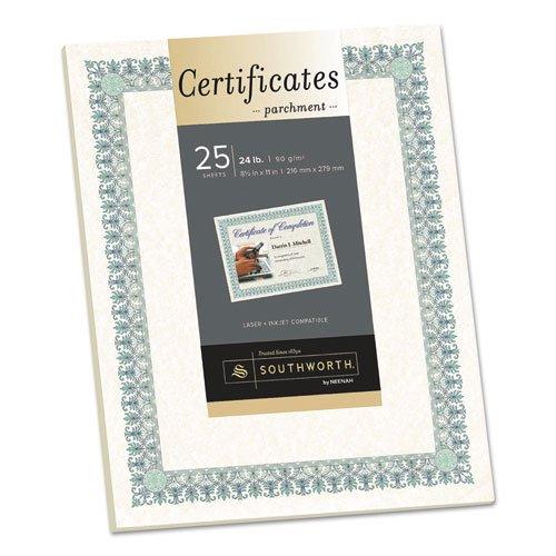 8-1//2 x 11 25//PK SOUCT3R Southworth CT3R Parchment Certificates Ivory w//Green /& Blue Border 24 lbs