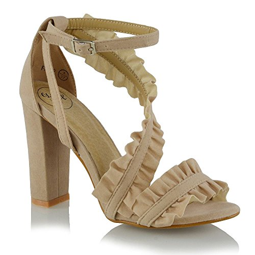 Krause Damen Hohe GLAM Party Hautfarbe Blockabsatz Schuhe Sandalen Knöchelriemen ESSEX Wildlederimitat 5tUq45