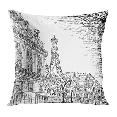 Emvency Throw Pillow Covers City Paris Ssketch of Parisian Street Trees and The Eiffel Tower in Sketch Scape French France Pencil Custom Square Size 16 x 16 Inches Home Decor Pillowcases Cushion