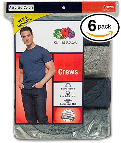 Fruit Of The Loom Tagless (Fruit of the Loom Men's Stay Tucked Crew T-Shirt - Large - Assorted Stay Tucked (Pack of 6))