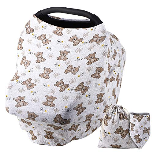 NOZAAM Nursing Covers Baby Car Seat Cover, Car Seat Canopy, Infant Stroller Cover for Baby Girls Boys, Infant Stretchy Cover for Baby Swing, Shopping Cart, Feeding High Chair (Grey)