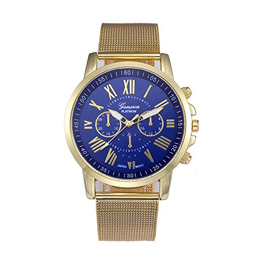 Women's Fashion Classic Gold Geneva Quartz Mesh Stainless Steel Band Strap Wrist Watch (Geneva Gold Bracelets)