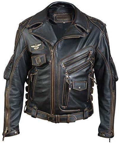 Ajustada Estilo Vintage Alpha Royale Color Negro Chaqueta de Motorista de Piel aut/éntica para Hombre