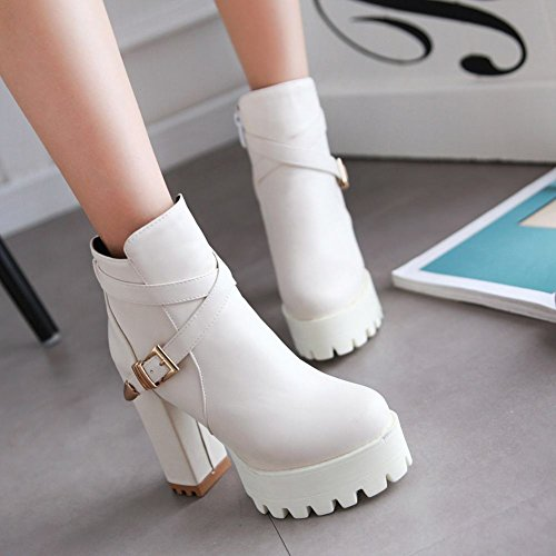 Carolbar Womens Zip Buckle Sweet Cosplay Platform High Heel Short Dress Boots Beige White 1c3r9g