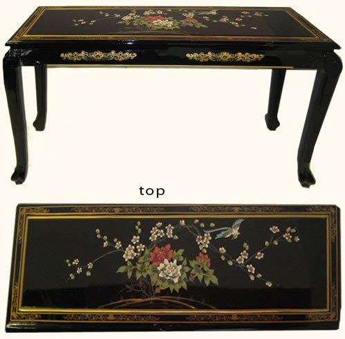 Lacquer Sofa Table with Ball and Claw Feet. Hand Painted with Glass Top – 44 W.