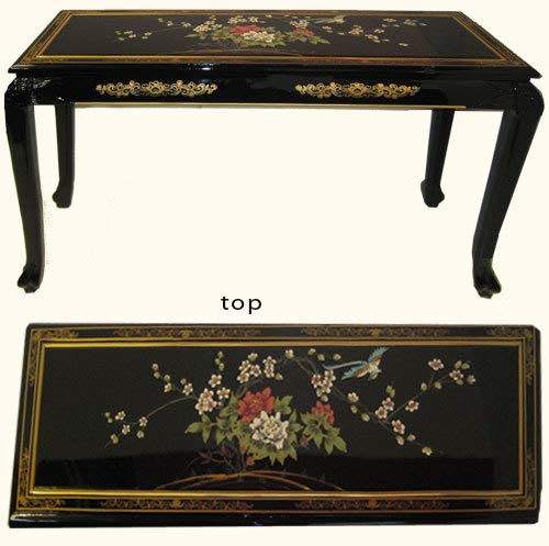 Lacquer Sofa Table with Ball and Claw Feet. Hand Painted with Glass Top - 44