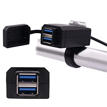 Fansport Cargador USB para Motocicleta Universal 12-24 V ...